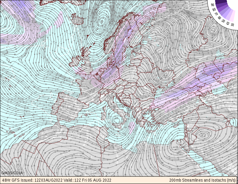 map for European 200mb Maps - COLA - 48 hr