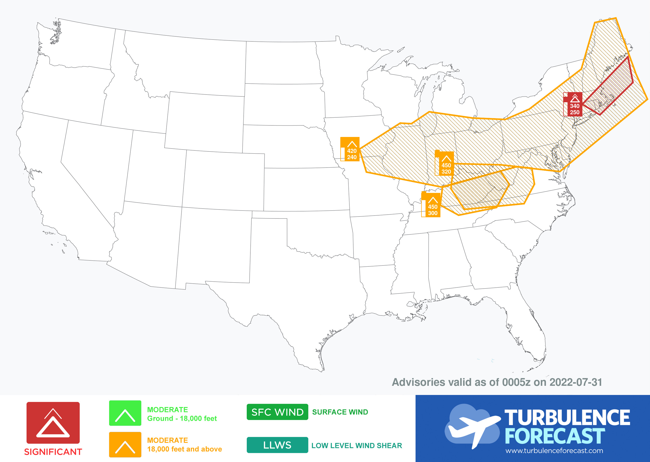 map for Turbulence Advisories - Beta Airmets