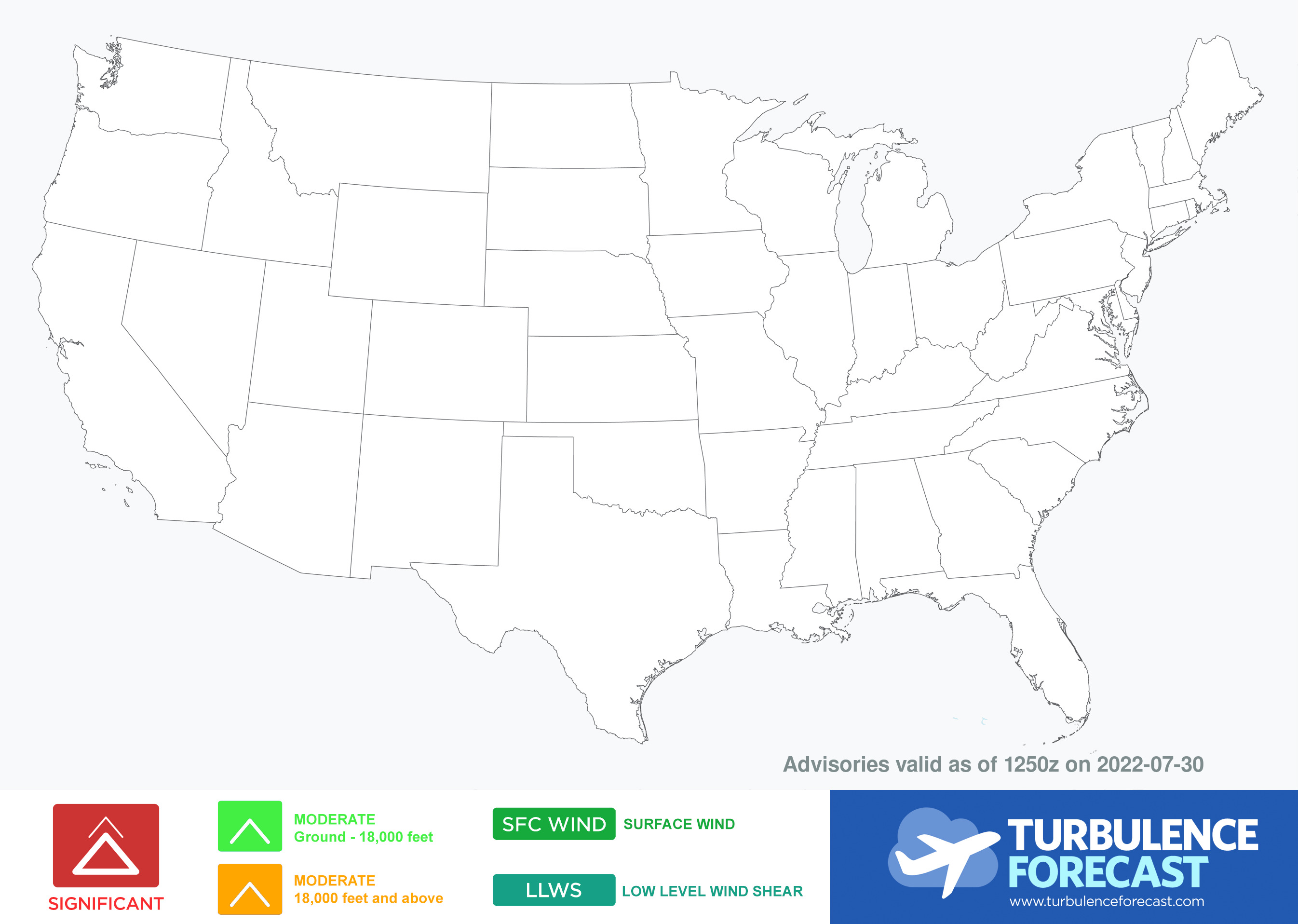 map for Turbulence Advisories