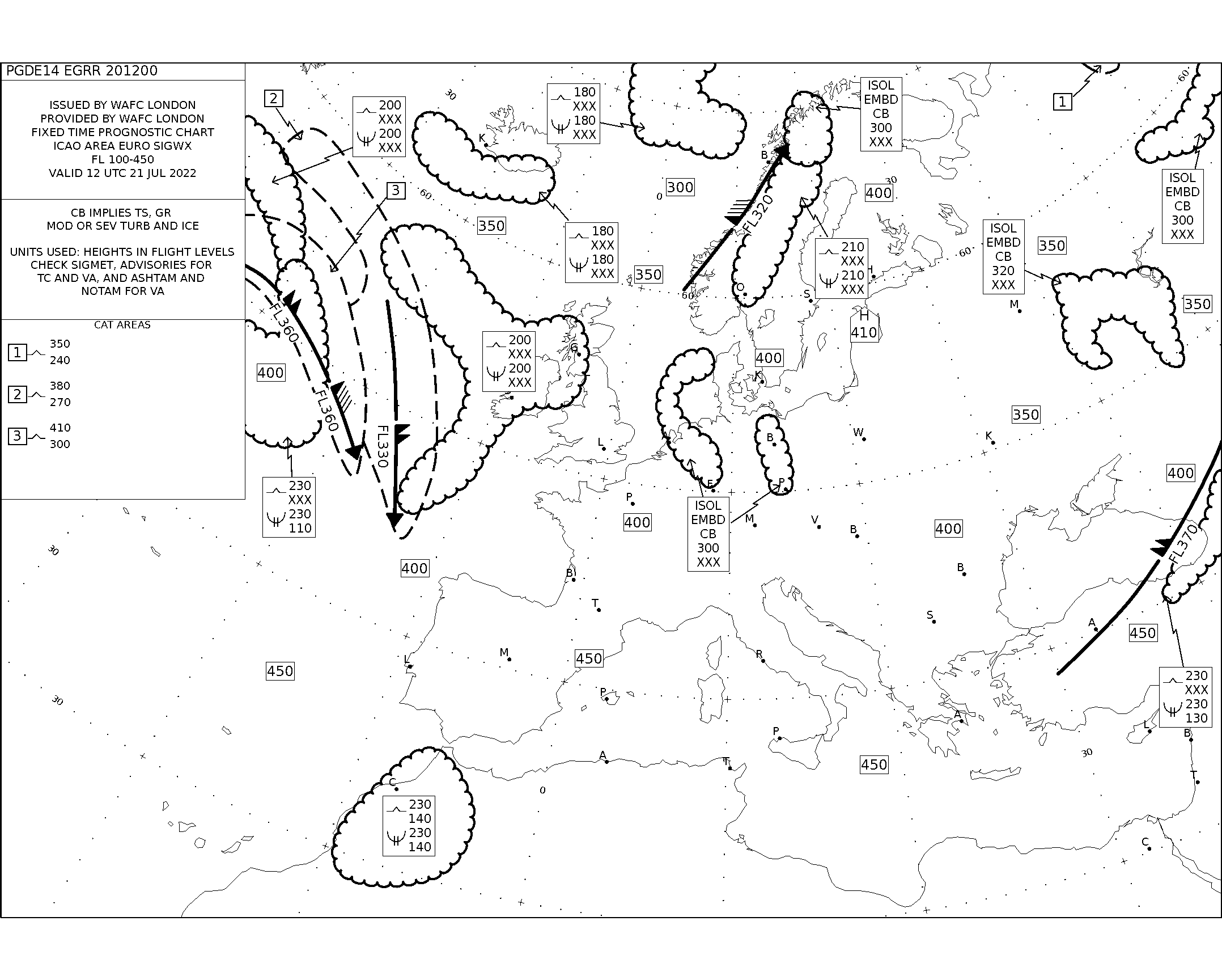 map for Polar Route Europe Atlantic Turbulence Maps - 12 UTC