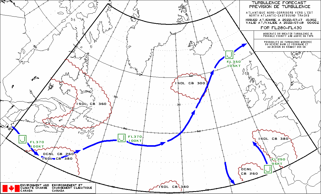 map for Atlantic Ocean Westbound